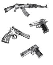 study of guns for a bigger piece