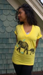 Sasha in Elephant Migration V-neck