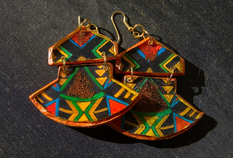 Geometric Fan earrings in Copper