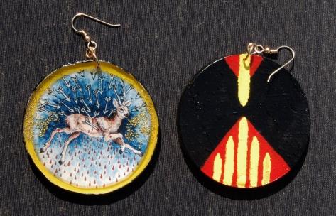 Deer Invasion earrings front & back