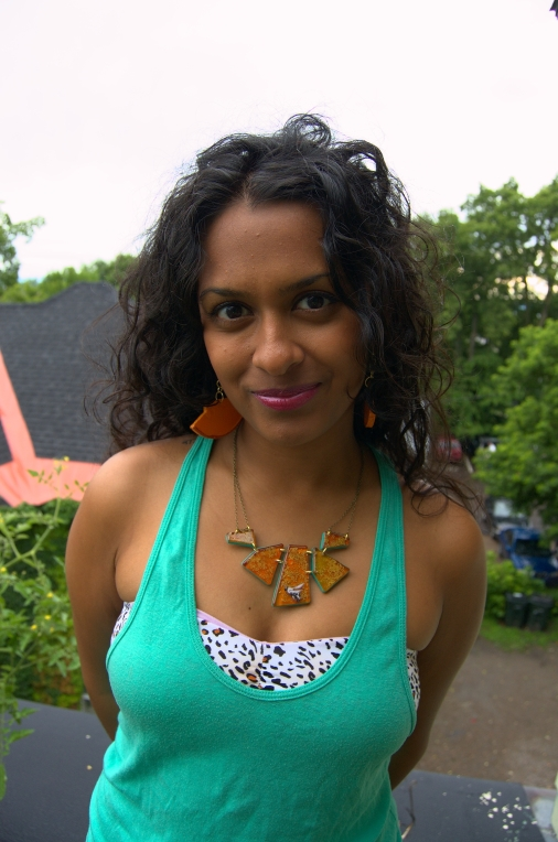 Sasha in Honey Bee Geometric necklace