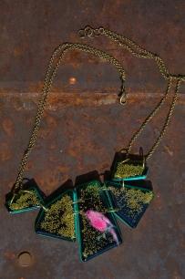 Electric Bird Geometric necklace in Black
