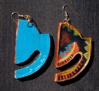 Geometric Horizon earrings in Copper front & back