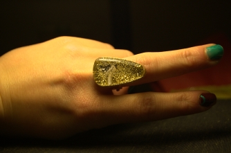 Insect Teardrop ring in Liquid Gold
