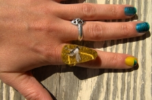 Insect Teardrop ring in Honey Gold