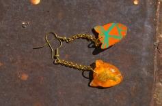 Leopard Chain earrings in Orange