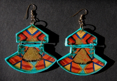 Geometric Fan earrings in Mint