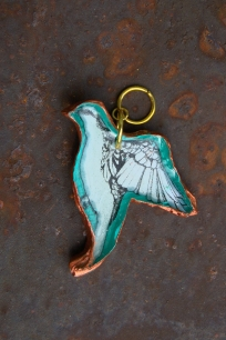pigeon pendant mint copper