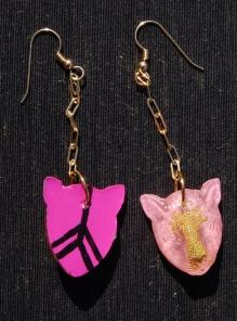 Leopard Chain earrings in Pink