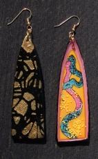 Snake earrings in pink front & back