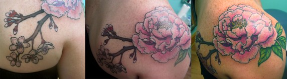 Custom peony and cherry blossoms