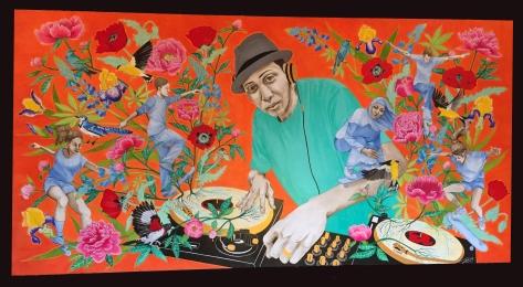 Andy A_Dog Williams Skatepark memorial mural, acrylic on board, 8' x 4'